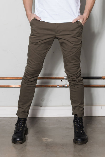 Chino jeans for men in khaki green