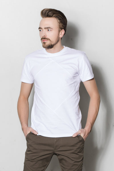 Up-shirt for men, diamond motif | White