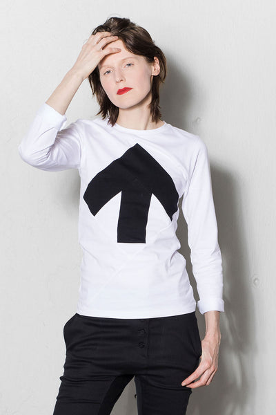 Up-shirt for women, long sleeves | White, dark grey