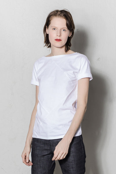 Up-shirt for women, diamond motif | White