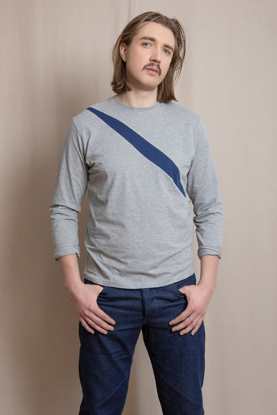 Up-shirt for men, slash motif, long sleeves | Grey, dark blue