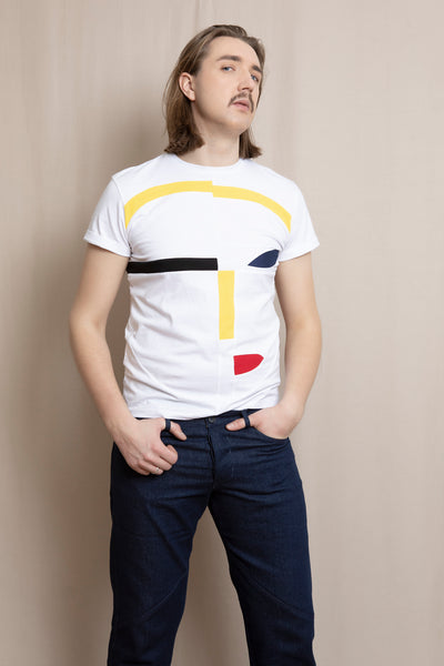Up-shirt for men, Avant-garde | White, multi