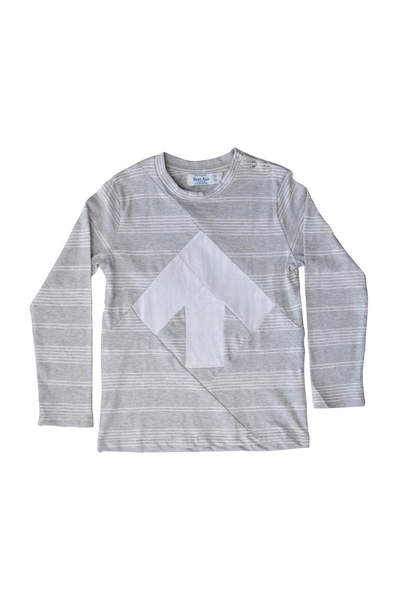 Kid's long sleeve up-shirt Light grey White / K106DA