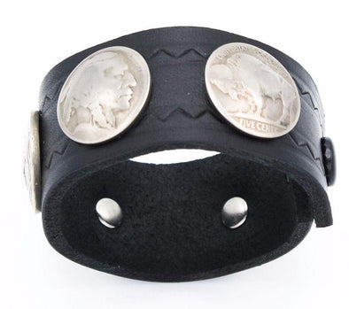 Buffalo Nickel Thick Leather Cuff