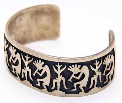 Old Pawn Kokopelli & Corn Maiden Sterling Cuff