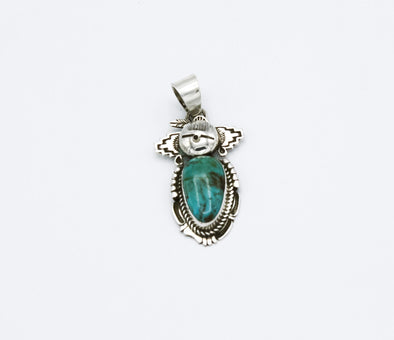 Bennie Ration Kachina Kingman Turquoise Pendant