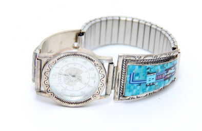 Four stones Zuni Watch - turkoi, Native American Jewelry, arts and crafts