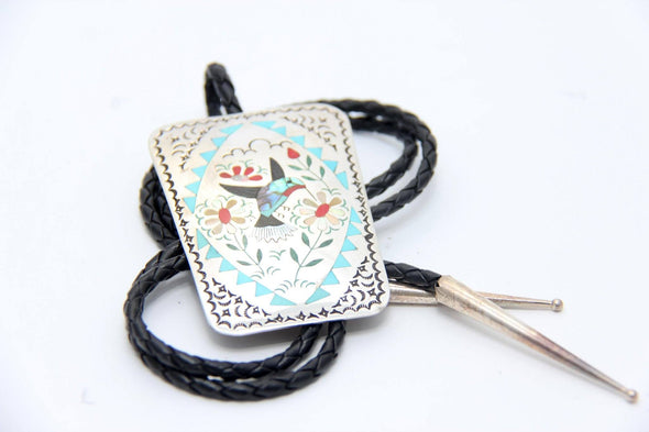 Humming Bird Bolo Tie - turkoi, Native American Jewelry, arts and crafts