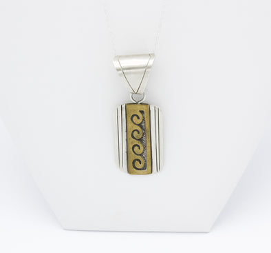 Overlay Waves Gold & Silver Pendant