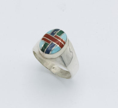 Inlaid Multigemstone Zuni Ring