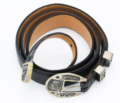 Hopi Story Teller Silver & Leather Belt