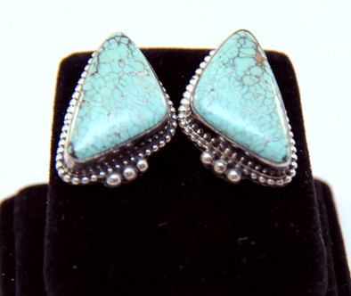 Old Pawn Kingman Turquoise Earings - turkoi, Native American Jewelry, arts and crafts