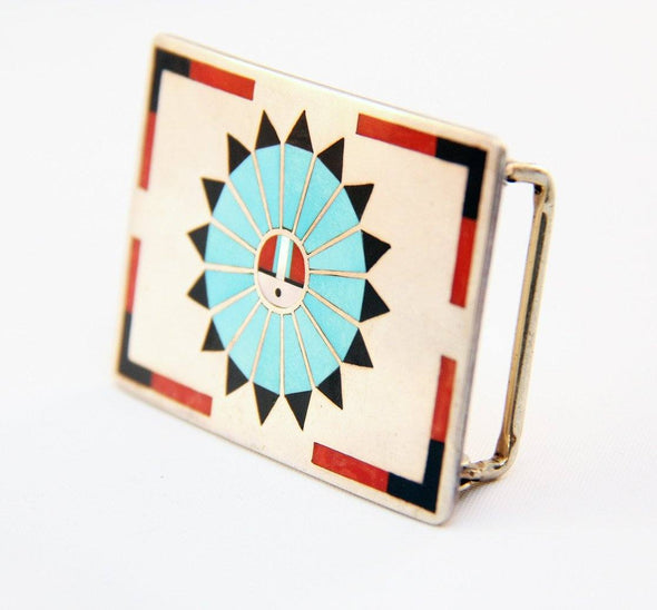 Zuni Peace Belt Buckle - turkoi, Native American Jewelry, arts and crafts