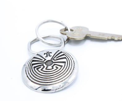 Man in Maze Spiral of Life Lizard Silver Keychain Gifts for Him southwest accessories Native American symbol accessory