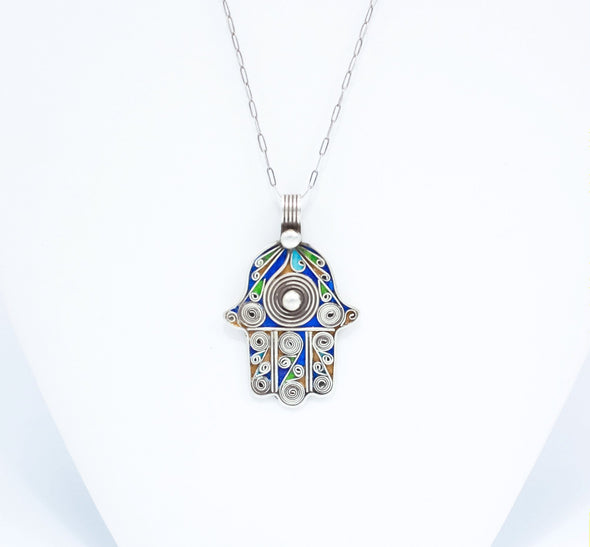 Reversible Hamsa Hand Glass Pendant