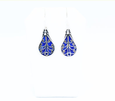 Berber Glass and Silver Earrings