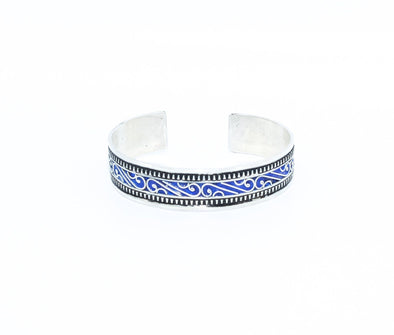 Blue Glass Silver Cuff