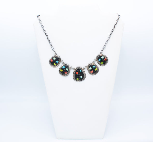 Cornrow Overlay Multi Gemstone Necklace