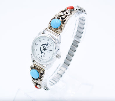 coral and sleeping beauty kokopelli Navajo Native American Indian Jewelry Accessories Watchband Sleeping Beauty Sterling Silver Watches