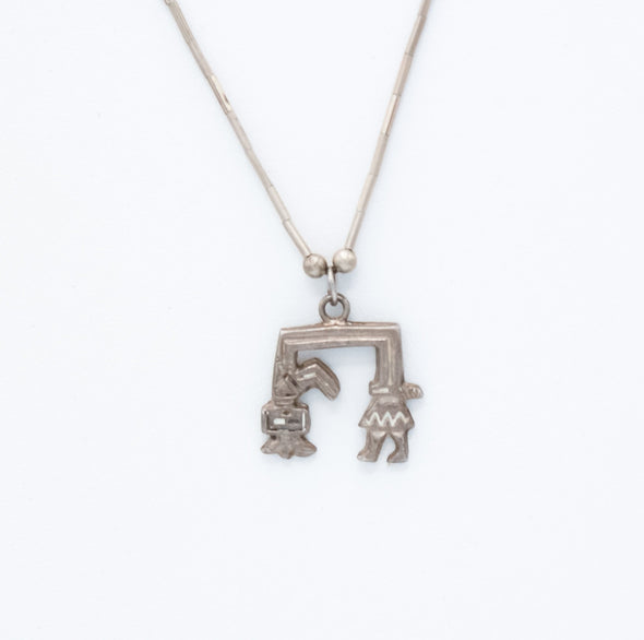 Rainbowman Kachina Sterling silver pendant necklace Navajo handcrafted southwest jewelry pendant necklace