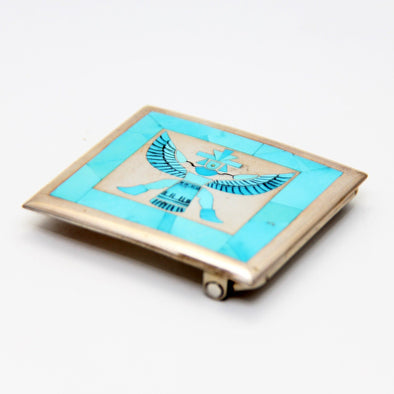 Turquoise Zuni Knifewing Belt Buckle