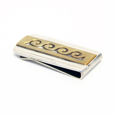 Hopi Cycle Silver & Gold Money Clip - turkoi, Native American Jewelry, arts and crafts