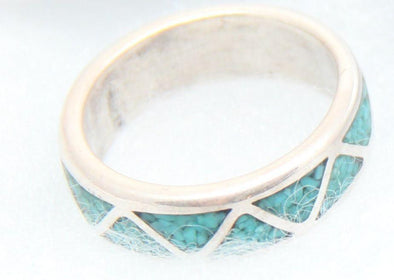 Triangle Shaped Turquoise Inlay Wedding Band