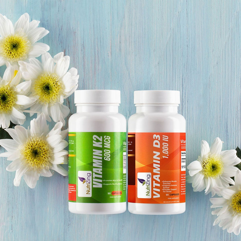 Vitamin K2 MK7 (600mcg) and Vitamin D3 (1000iU) Combo Pack