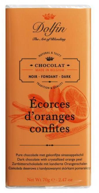 Chocolate 70g Dark and Crystallized Orange Peel Dolfin
