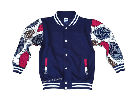 Navy Autumn Leaves Varsity Jacket (Unisex)