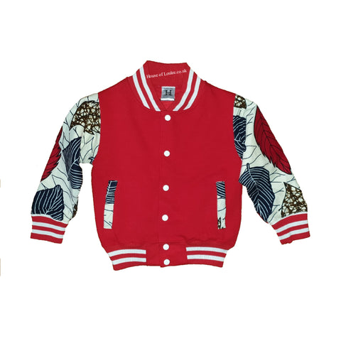 Kids Red Autum Leaves Varsity Jacket (Unisex)