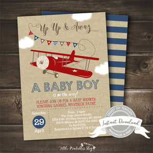 Airplane Baby Shower Invitation for a Boy