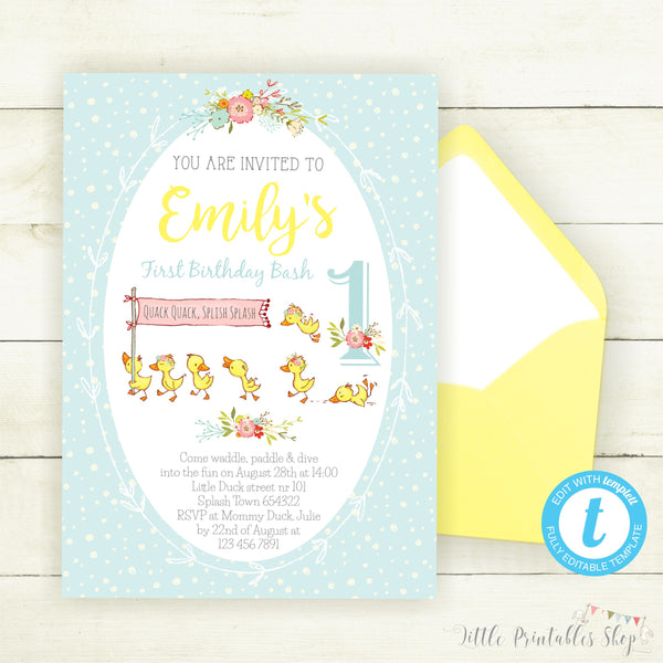 Duck Birthday Invitation, Little Printables Shop