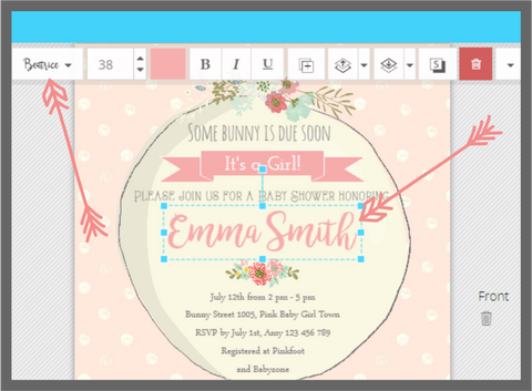 Little Printables Shop, Editing Text on Templett