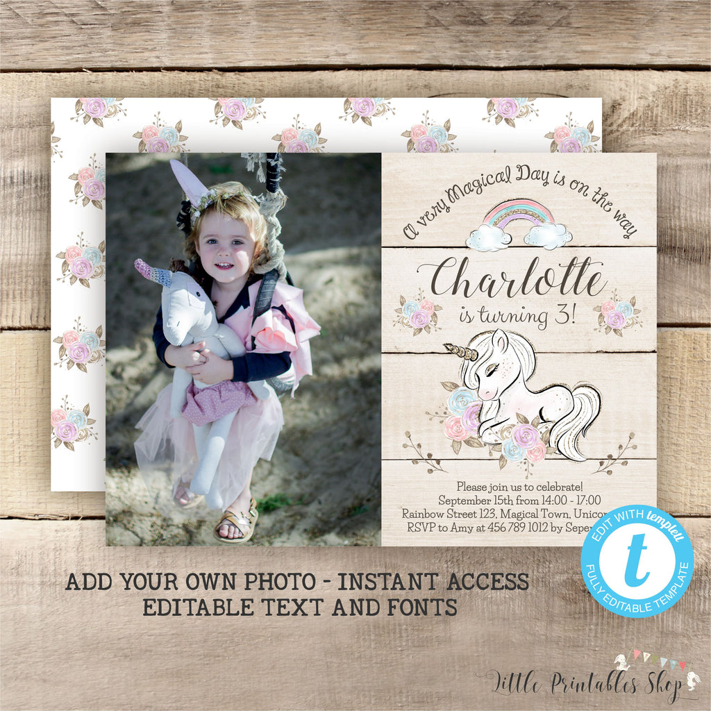 Floral Unicorn Photo Invitation with wood, Little Printables Shop