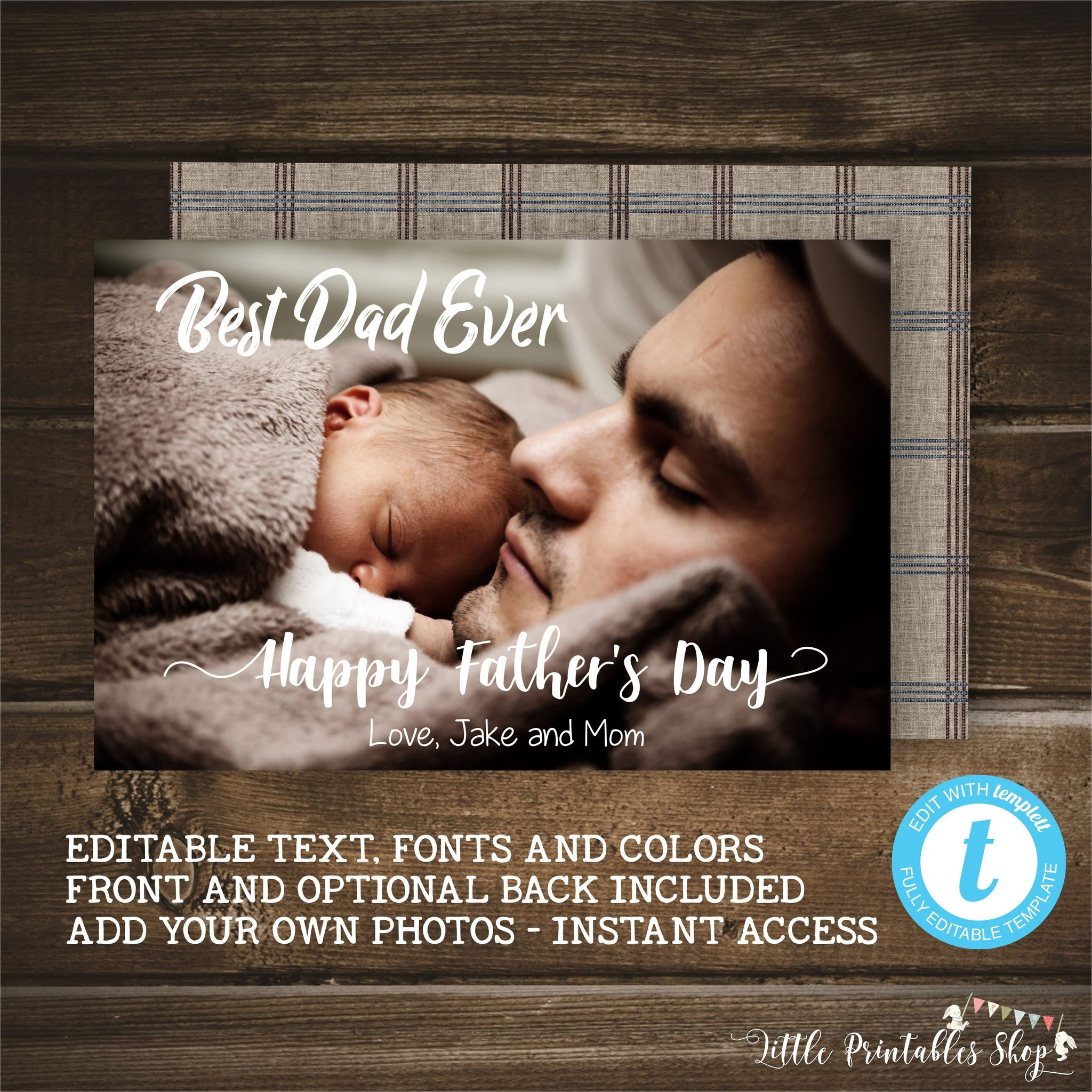 Editable Fathers Day Photo Card  Editable Fathers Day Photo Card, Father's Day, Little Printables Shop, Little Printables Shop- Little Printables Shop