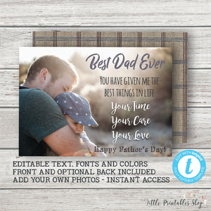 Printable Fathers Day Photo Card | Editable Fathers Day Template  Printable Fathers Day Photo Card | Editable Fathers Day Template, Father's Day, Little Printables Shop, Little Printables Shop- Little Printables Shop