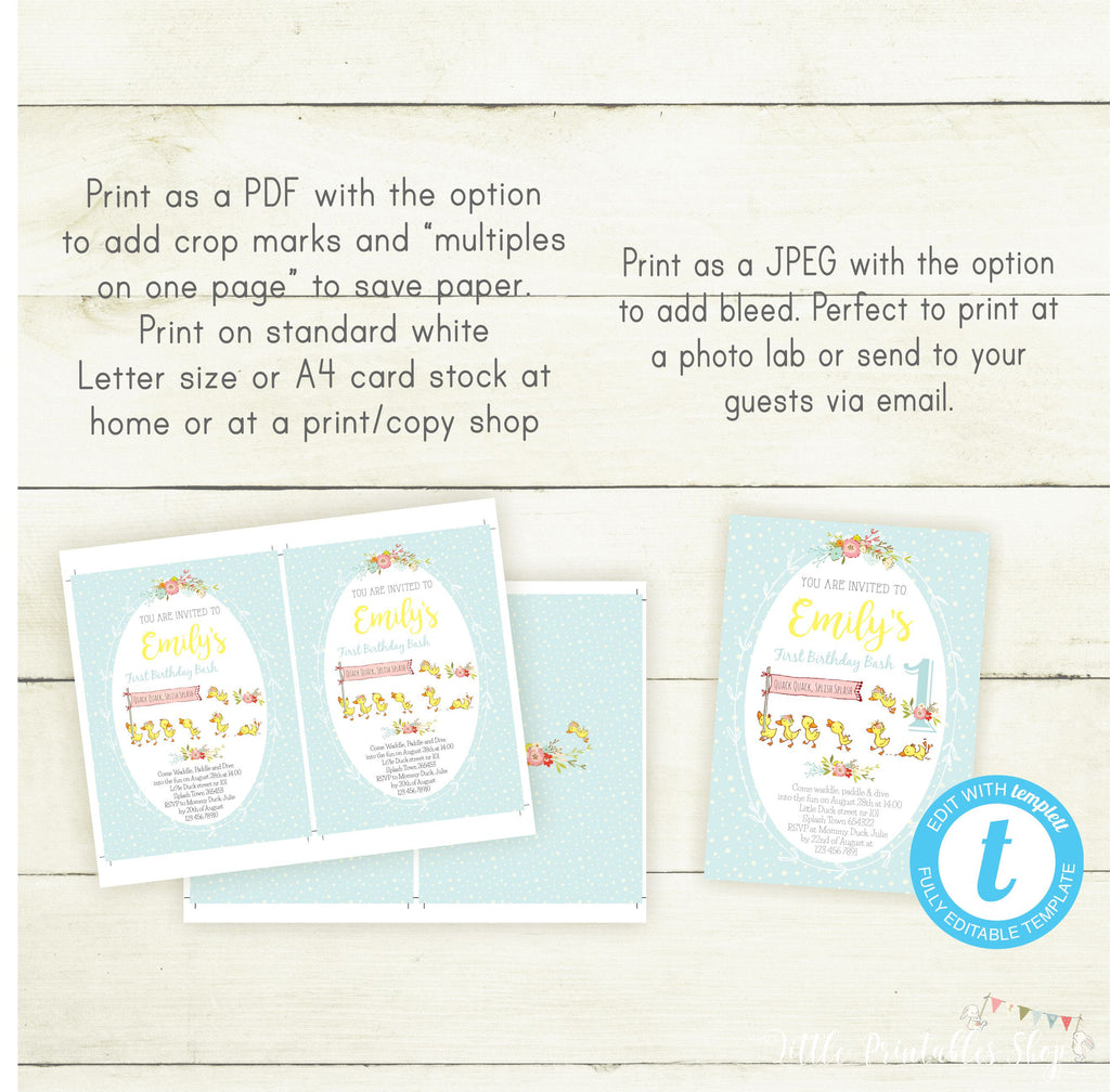 Editable Duck Birthday Invitation Template Ducky Party Invite