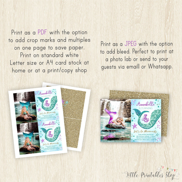 Mermaid Photo Invitation | Mermaid Birthday Invite for Girl  Mermaid Photo Invitation | Mermaid Birthday Invite for Girl, Birthday Invitations, Little Printables Shop, Little Printables Shop- Little Printables Shop