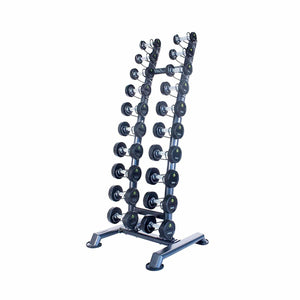Rubber Dumbbell Sets with Upright Racks - 10 or 14 Sets