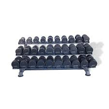 Rubber Dumbbell Sets with Saddle Racks