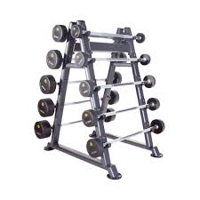 10 Pair PU Barbell Set with Rack (10 - 45kg)