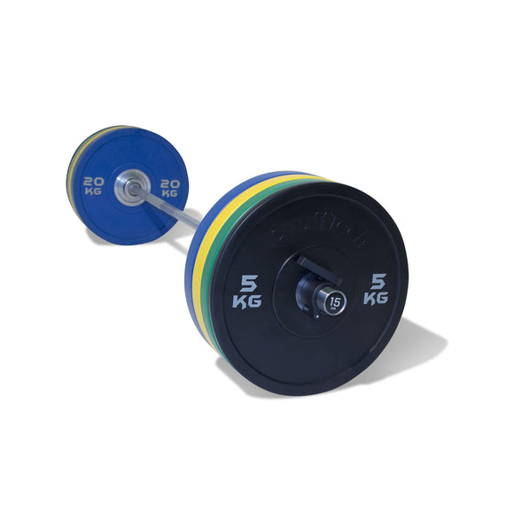 PU Competition Bumper Plate Barbell Set (115kg)