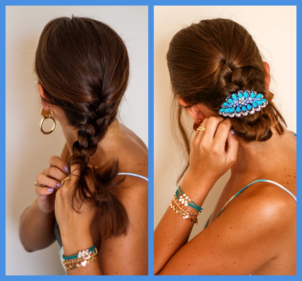 Cool Blues & Rhinestone Hair Clips for Holiday Hair