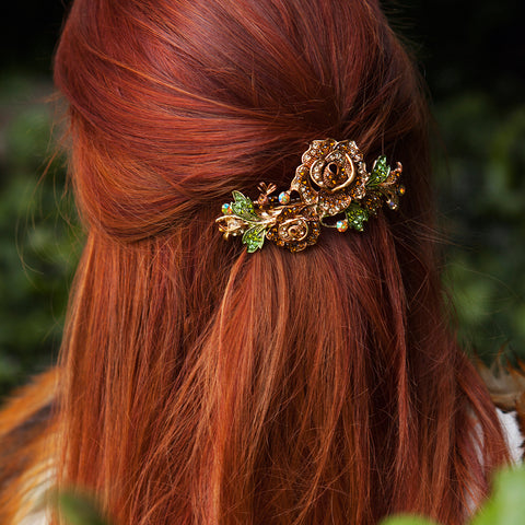 brown floral hair accessory