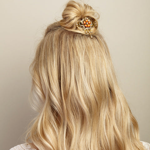 floral hair accessory yellow ochre