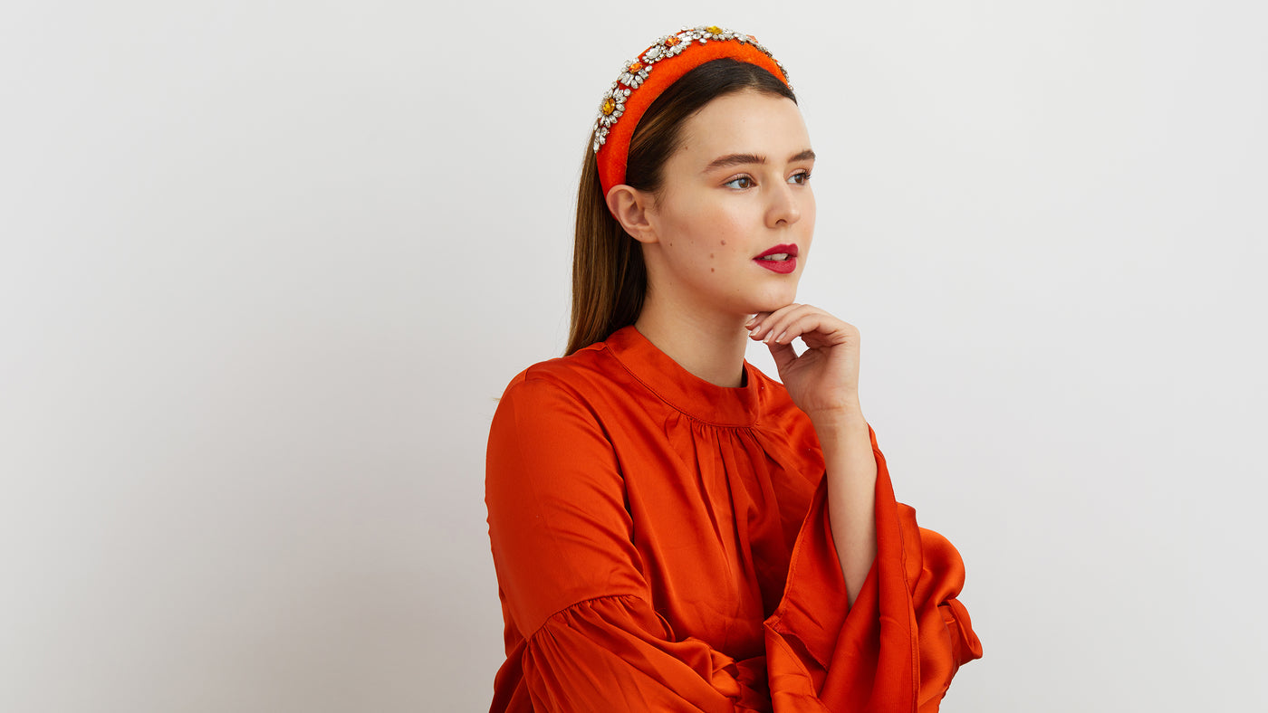 orange jewelled headband wedding guest