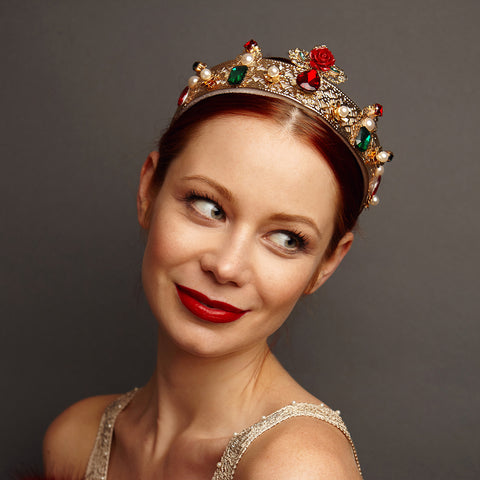 red and gold tiara