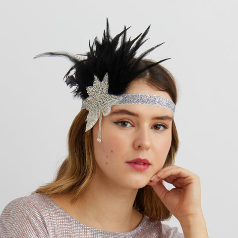 statement headband in silver with feathers