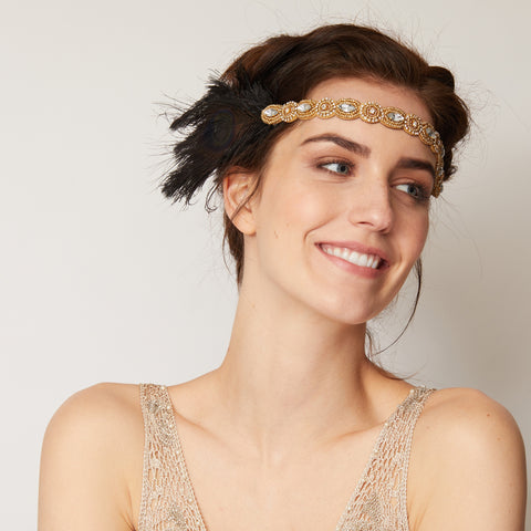 1920s headband black and gold